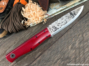 Fiddleback Forge Terrasaur - Ruby Burlap - SCANDI - Fiddleback Forge Handmade Knife
