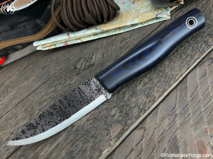 Fiddleback Forge Terrasaur - Black/Blue Canvas Micarta - SCANDI