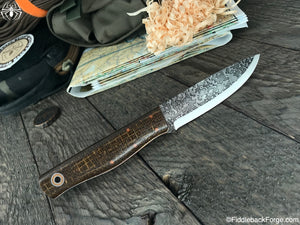 Fiddleback Forge Terrasaur - Brown Burlatex - SCANDI - Fiddleback Forge Handmade Knife