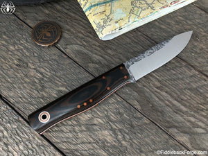 Fiddleback Forge Terrasaur - Black/Brown Micarta