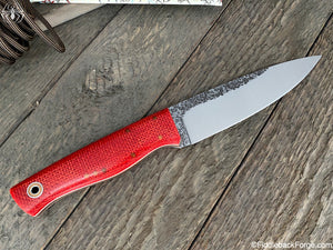 Fiddleback Forge Woodsman - Scarlet Burlap - Fiddleback Forge Handmade Knife