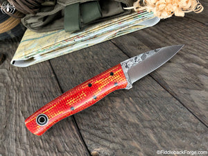 Fiddleback Forge ED Karda - Red/Yellow Burlatex - Fiddleback Forge Handmade Knife
