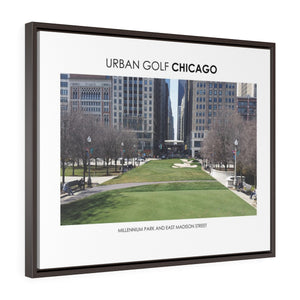 Millennium Park and East Madison Street - Framed Premium Gallery Wrap Canvas