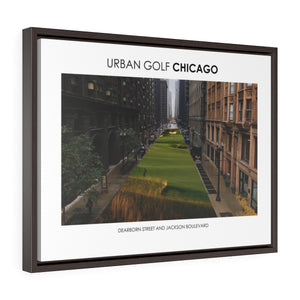 Dearborn Street and Jackson Boulevard - Framed Premium Gallery Wrap Canvas