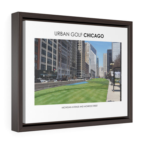 Michigan Avenue and Monroe Street - Framed Premium Gallery Wrap Canvas