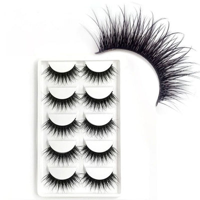 5 Pairs 3 D Natural False Eyelashes Fake Lashes Long Makeup Bigeye Mink Lashes Extension Eyelash Mink Full Strip Eyelashes