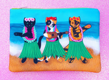 Load image into Gallery viewer, Hula kitties fabric pouch - larger size