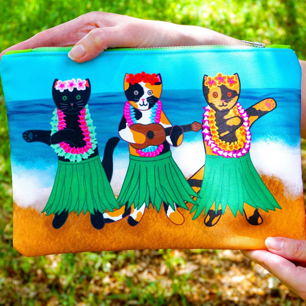 Hula kitties fabric pouch - larger size