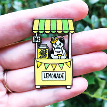 Load image into Gallery viewer, Lemonade stand cat enamel pin