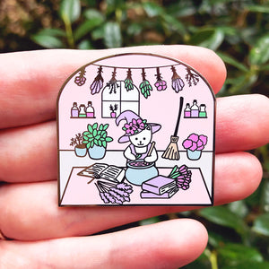 Plant witch cat enamel pin