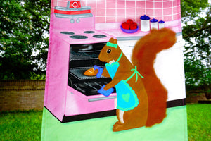 Baker squirrel tea towel