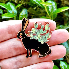 Load image into Gallery viewer, Cactus hare enamel pin