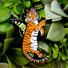 Load image into Gallery viewer, Orange butterfly tiger enamel pin