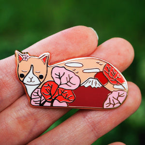 Mount Fuji cat enamel pin