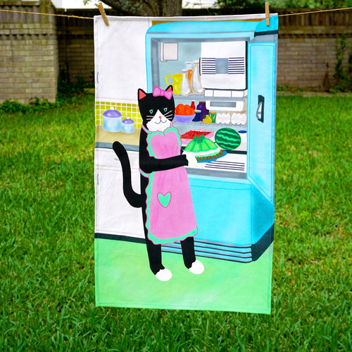 Kitty with jello mold tea towel