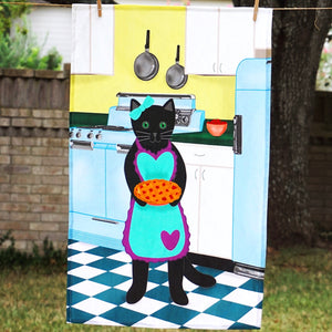Pie baker cat tea towel