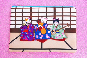 Geisha kitties fabric pouch - larger size