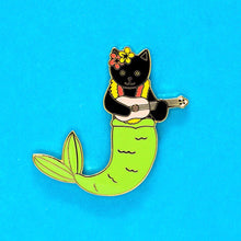 Load image into Gallery viewer, Purrmaid enamel pin - black cat version