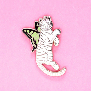 White tiger butterfly enamel pin