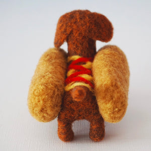 Needle felted brown wiener dog