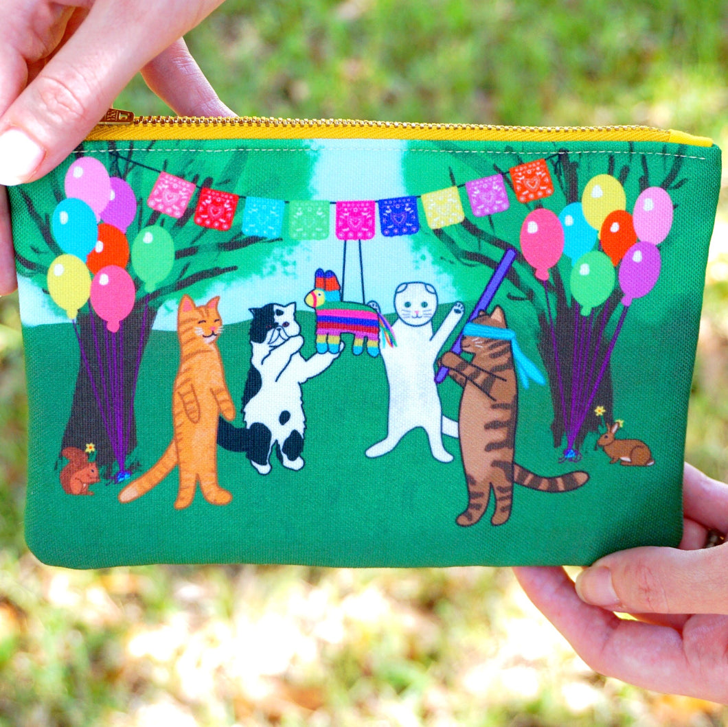 Fiesta kitties fabric pouch - smaller size
