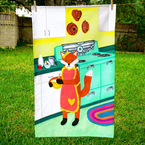 Baker fox tea towel