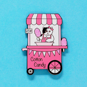 Cotton candy stand cat enamel pin