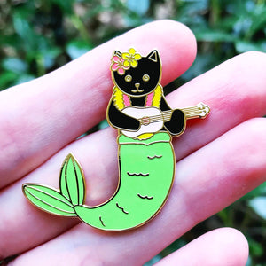 Purrmaid enamel pin - black cat version