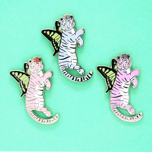 Pastel butterfly tiger enamel pin