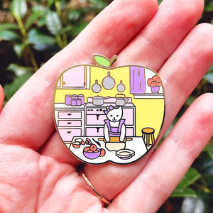 Pie baker cat enamel pin