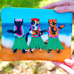 Hula kitties fabric pouch - smaller version