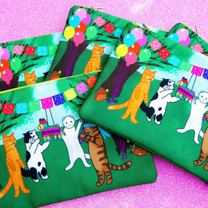 Fiesta kitties fabric pouch - larger size
