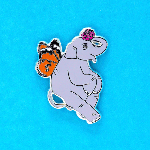 Butterfly elephant enamel pin