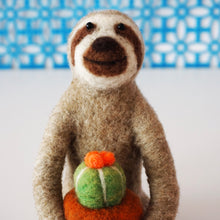 Load image into Gallery viewer, Needle felted sloth with blooming cactus plant