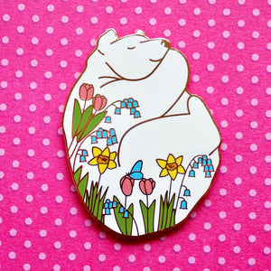 Spring bear enamel pin