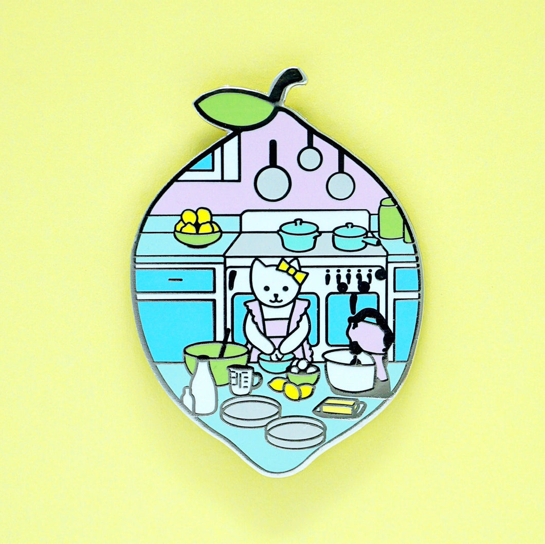 Cake baker cat enamel pin