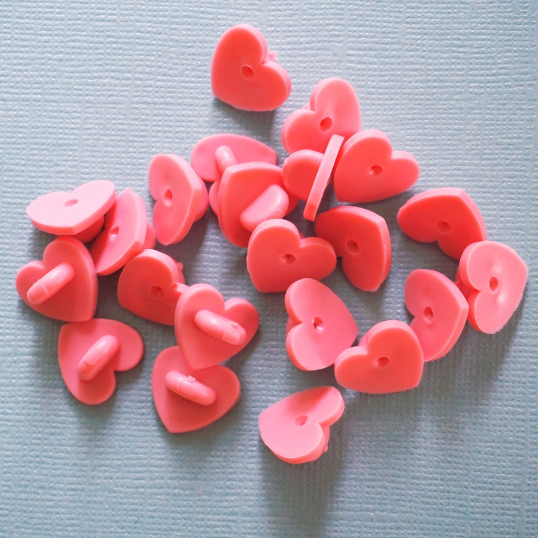 Pink heart rubber pin backs