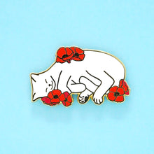 Load image into Gallery viewer, Charity pin for FIP research - white cat