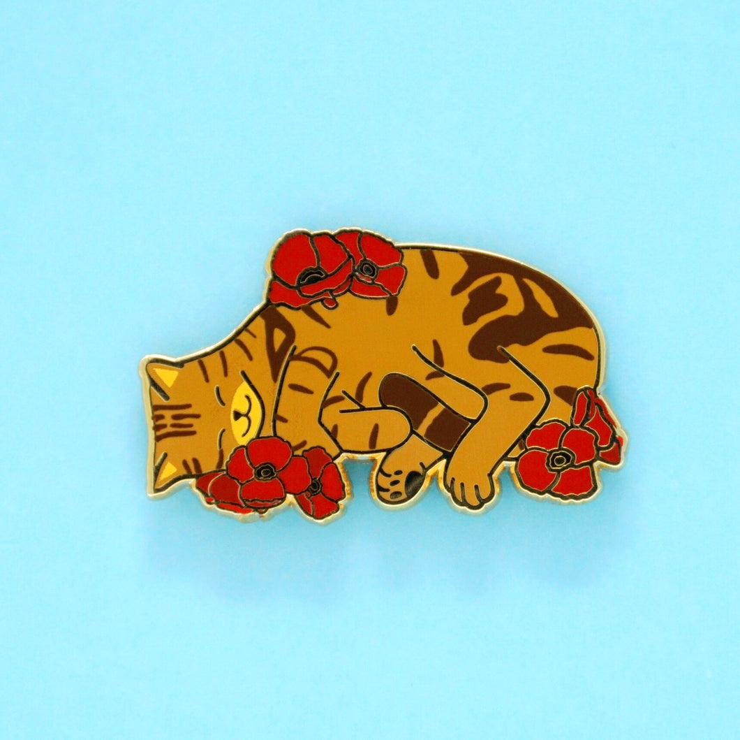 Charity pin for FIP research - brown tabby cat