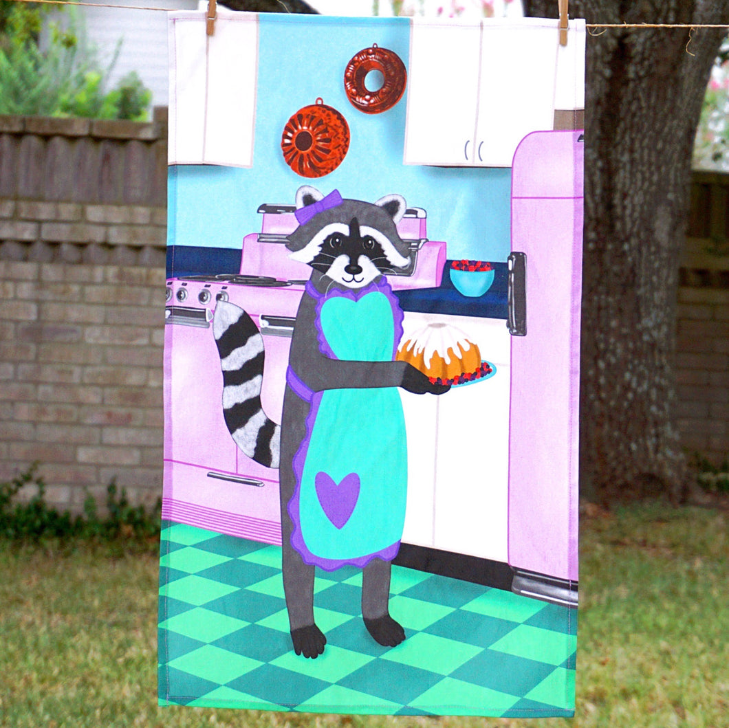 Baker raccoon tea towel