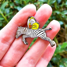 Load image into Gallery viewer, Zebra butterfly enamel pin