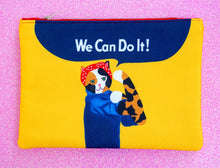 Load image into Gallery viewer, Feminist Rosie cat fabric pouch - larger size