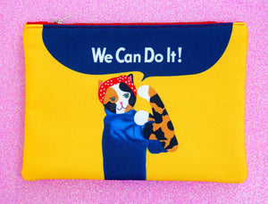 Feminist Rosie cat fabric pouch - larger size