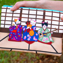 Load image into Gallery viewer, Geisha kitties fabric pouch - larger size