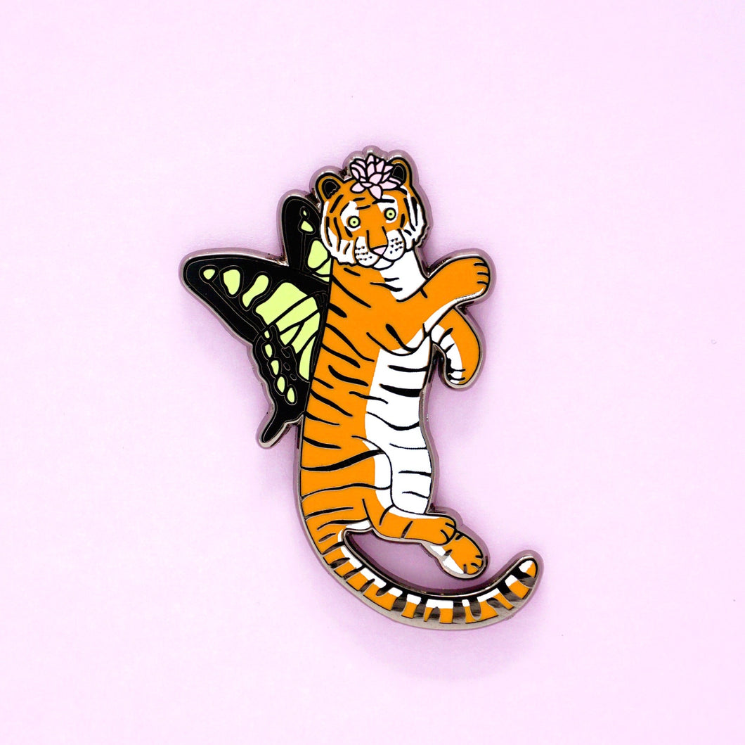 Orange butterfly tiger enamel pin