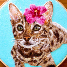 Load image into Gallery viewer, Wool painting of Bengal cat with hibiscus flower