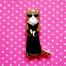 Load image into Gallery viewer, Audrey Hepburn cat enamel pin