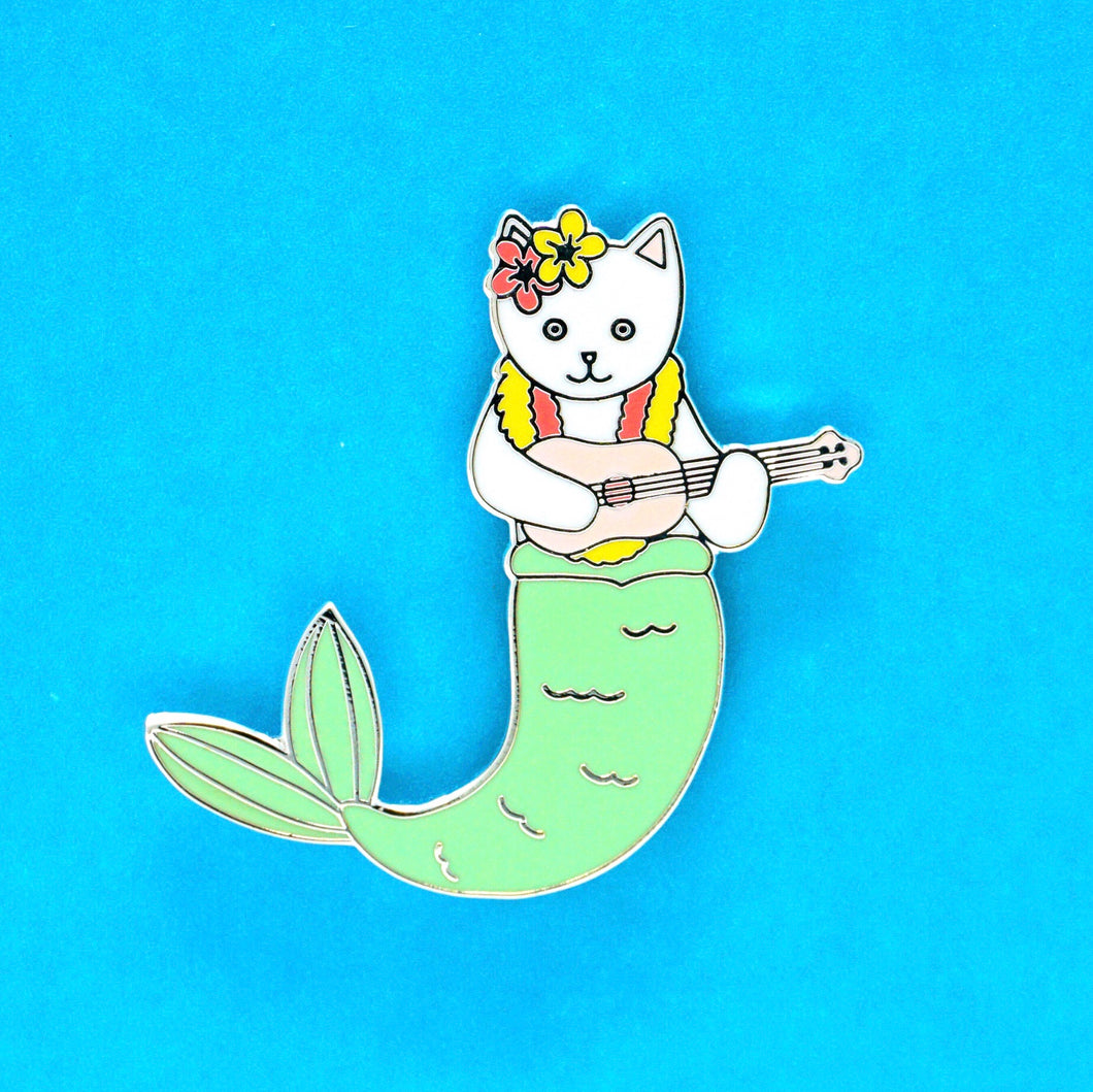 Purrmaid enamel cat pin - white version