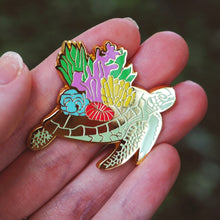 Load image into Gallery viewer, Coral sea turtle enamel pin
