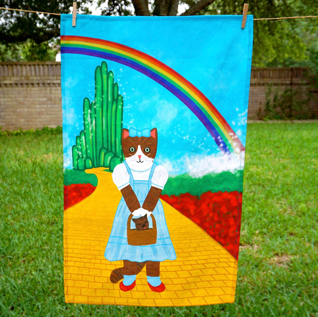 Wizard of Oz cat tea towel